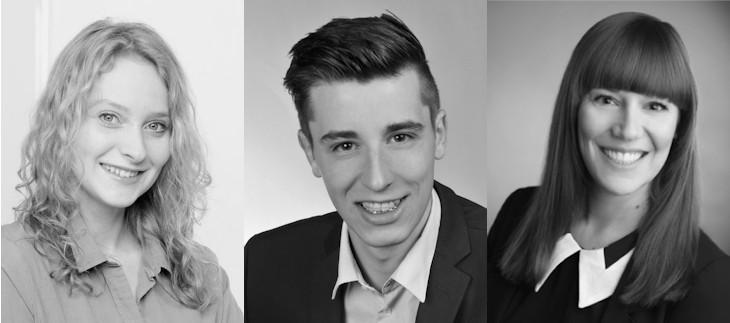 Neue Mitarbeiter Clara, Louis und Tina